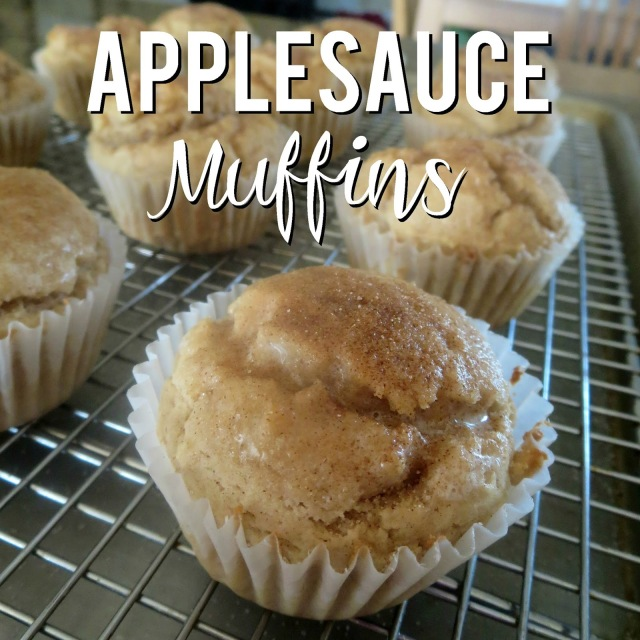 Applesauce Muffins--From bowl to oven in 10 minutes, these applesauce muffins are a family favorite.  Perfect for mornings on-the-go or an afternoon snack!