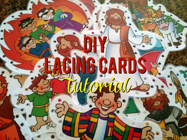 DIY Lacing Cards Tutorial--How to make your own lacing cards using any theme you want!  Perfect for church bags, diaper bags and gifts.