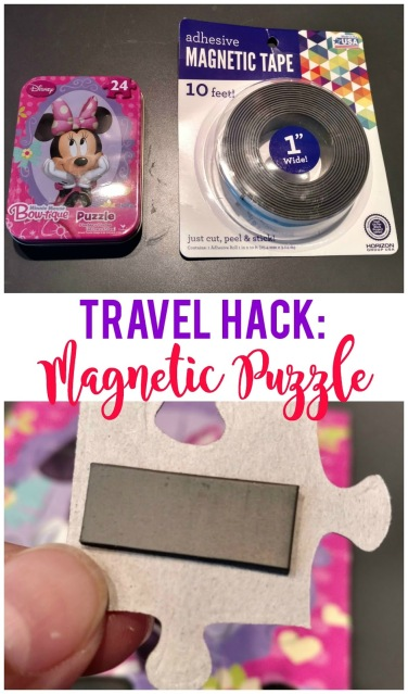 Use a dollar store cookie sheet, magnetic tape and a puzzle and you've instantly got an activity to keep your kids busy in the car!
