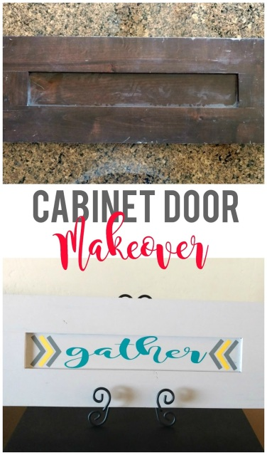 Easily transform a cabinet door into a customized sign for your home