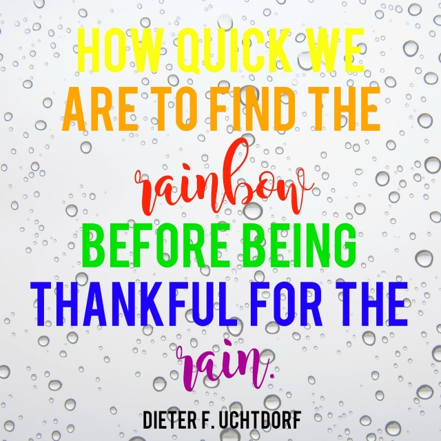 As we develop an attitude of gratitude, we are better able to weather the storms of life.