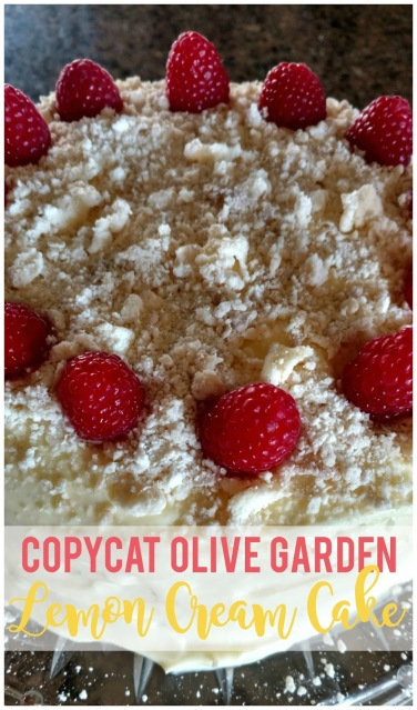 Moist white cake, fluffy lemon cream filling and a buttery crumb topping.  This cake rivals Olive Garden's lemon cream cake and you'd never guess it starts with a store bought cake mix!