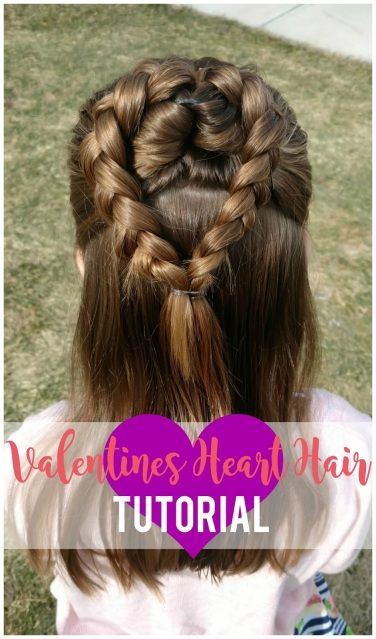 Sweet and simple Valentine's Day heart hair tutorial for your little girl