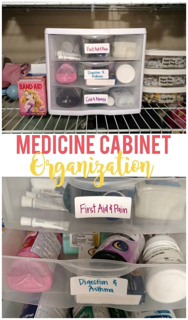 Use drawers, containers and labels to organize your medicine cabinet.