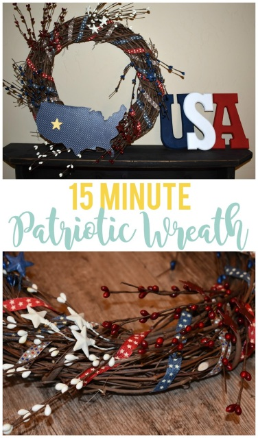I love this easy 15 minute patriotic wreath!  I can use it for Memorial Day and the 4th of July.